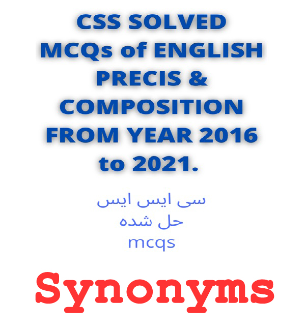 CSS Past Papers Synonyms