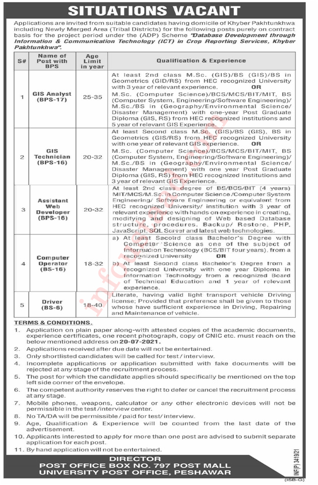 ICT Jobs in Agriculture Department Latest